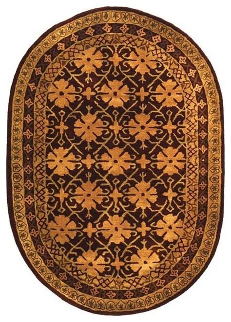 oval wool rug oval wool rug in maroon with beige border traditional area rugs by shopladder