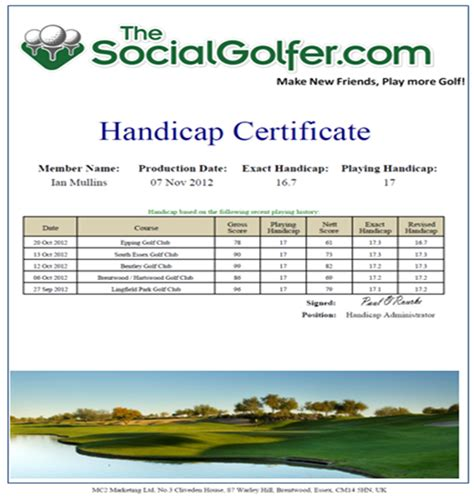 golf certificate template golf handicap certificate images