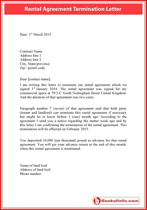termination letter format for rental agreement rental agreement termination letter sle letter