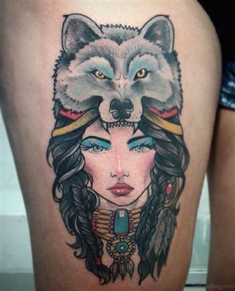 wolf tattoo for girl 70 great looking wolf tattoos on thigh