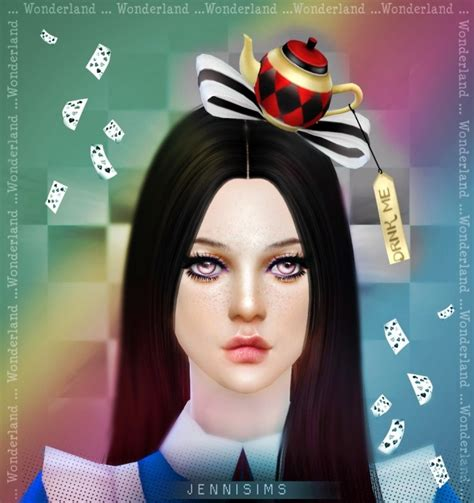 bow eye hair accessory at jenni sims 187 sims 4 updates hat tea bow drink me alicia wonderland at jenni sims