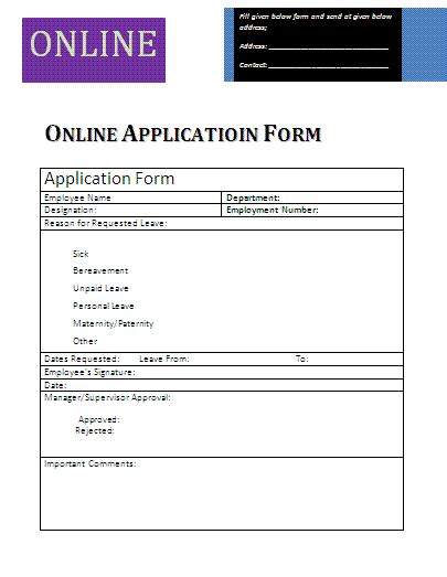 online application form a to z free printable sle forms