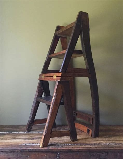 Ben Franklin Step Stool by Reserved Layaway Rustic Reclaimed Wood Chair Step Ladder