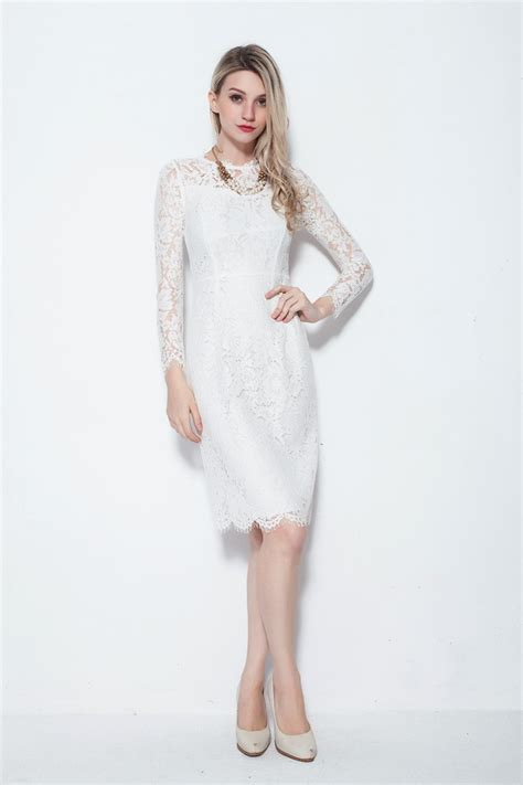 Modest Sleeved Knee Length White Dresses in Full Lace #