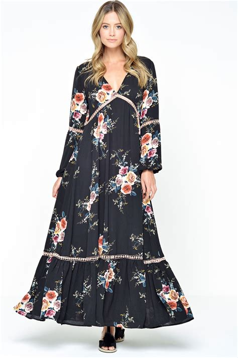 Maxi Bohemian Dress Alia Black stella ivanka boho maxi dress in black iclothing