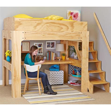 loft bed with desk plans loft bed and desk woodworking plan from wood magazine