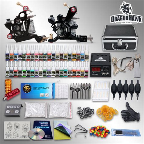 tattoo supplies free shipping complete kit 2 top machine gun 40 color ink power