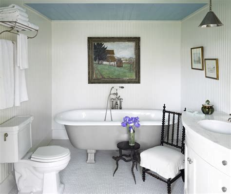 blue bathroom ceiling beadboard walls country bathroom jeffrey alan marks