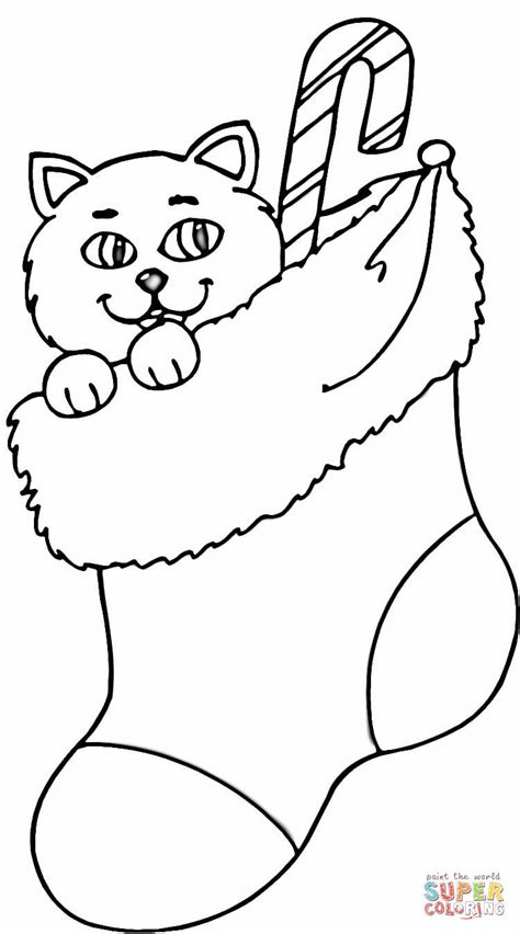 cat in stocking coloring page supercoloring com