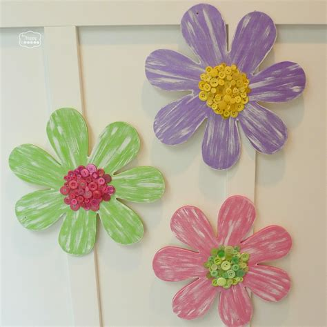 Dollarama Home Decor by Painted Wood Flowers With Button Centers The Happy Housie