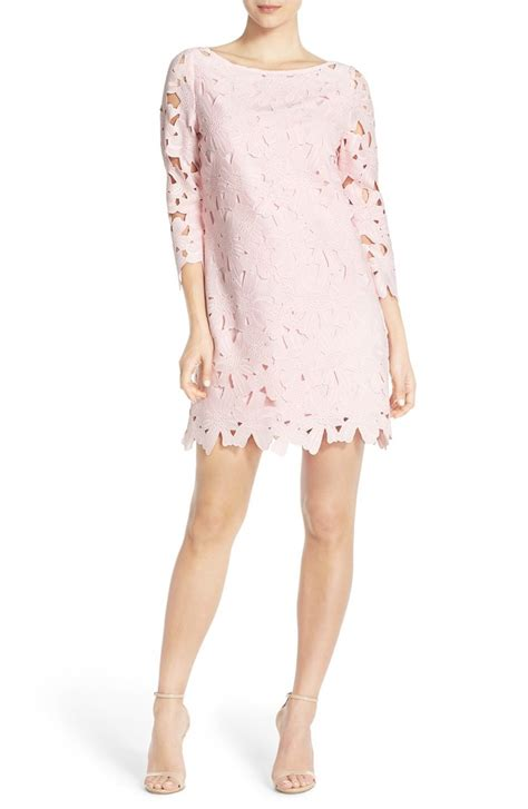 light pink dress for wedding guest lace shift dresses on trend for spring wedding guest season