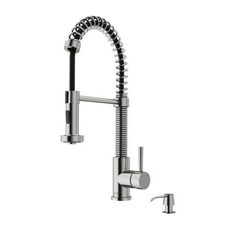 vigo single handle pull  sprayer kitchen faucet  soap dispenser  stainless steel