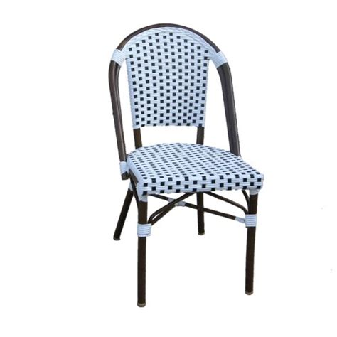 Navy Bistro Chairs Table In A Bag Cbcwn Faux Bamboo All Weather Wicker Stackable Bistro Chair White With Navy