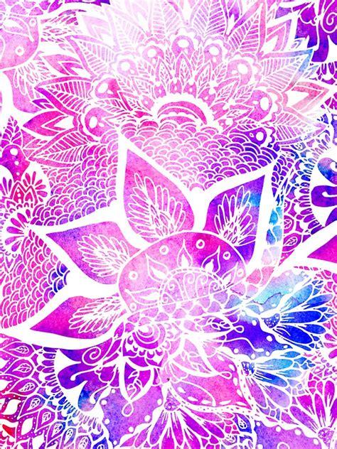 V22 Wallpaper Sticker Motif Vintage Purple quot purple blue henna boho floral mandala pattern quot stickers