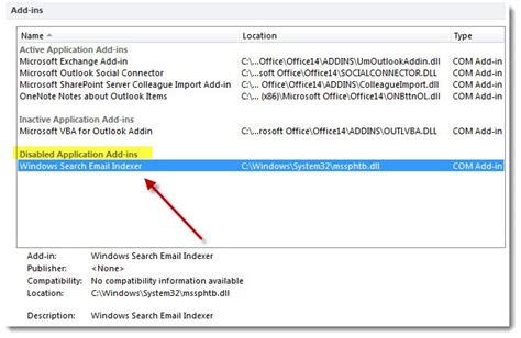 Windows Search Email Indexer Disabled Mssphtb Dll Outlook 2013 Disable Sadehayat