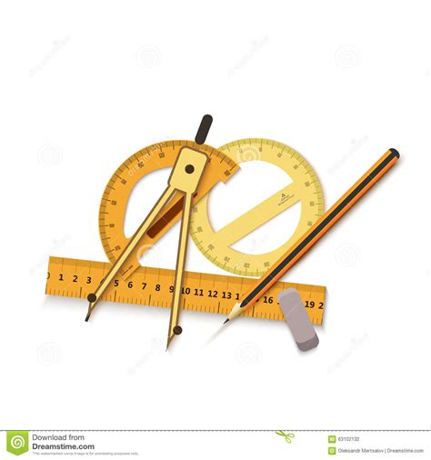 drawing tool with measurements engineering drawing on a blue background and tools to measure illustration icon background