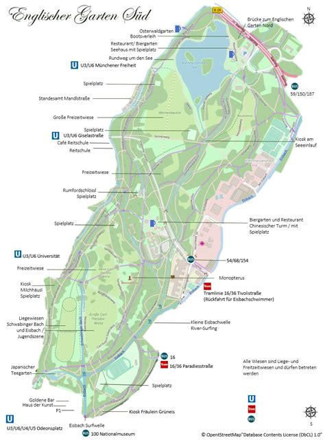 Englischer Garten München Karte by Pl 228 Tze Parks Sehensw 252 Rdigkeiten M 252 Nchen