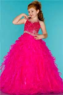 ball gown halter pink ruffle beaded cute little flower