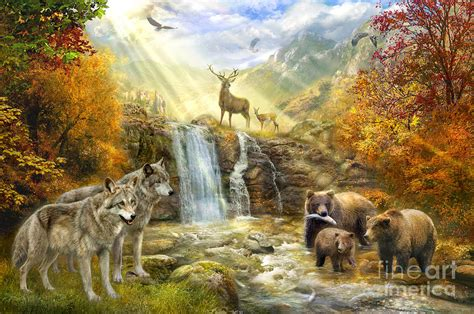 Wall Mural Posters bear falls digital art by jan patrik krasny