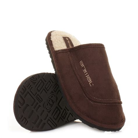 mens animal slippers mens animal halfpipe brown fleece warm comfy cosy slippers