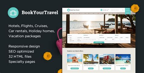 Book Your Travel Online Booking Html Template By Themeenergy Themeforest Booking Website Template Free