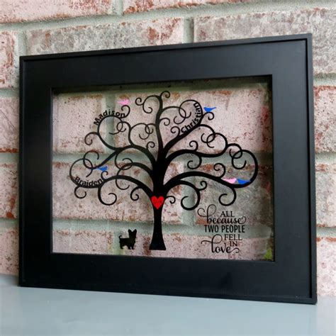 Bicycle Home Decor by Family Tree Frame With Vinyl A Silhouette Portrait Or