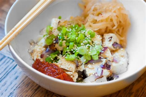 vegetarian dishes for dinner tofu and kimchi dinner for one recipe herbivoracious