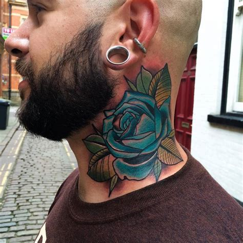 neck tattoo left or right traditional blue rose tattoo on the left side of the