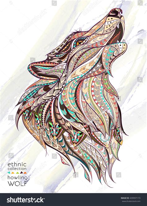patterned head howling wolf on grunge stock vector