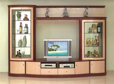 Formal Contemporary Dining Room Sets Maple Finish Contemporary Wall Unit With Two Display Cabinets