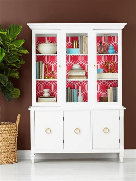 china cabinet makeover ideas how to wallpaper the inside of a china cabinet hgtv
