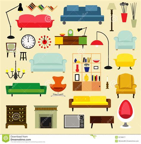 Furniture Ideas For Living Room Stock Vector Image 55798677 Designs Of Furnitures Of Living Rooms