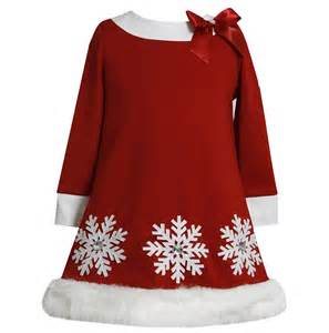 Bonnie jean girls red snowflake faux fur holiday christmas pageant