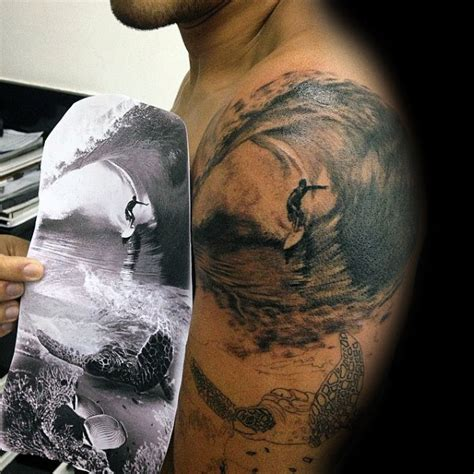 surfer tattoos 90 surf tattoos for oceanic design ideas