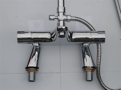 bath mixer taps with shower deck thermostatic bath shower mixer taps rigid riser