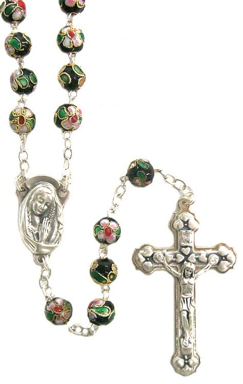 cloisonne rosary genuine black cloisonne rosary