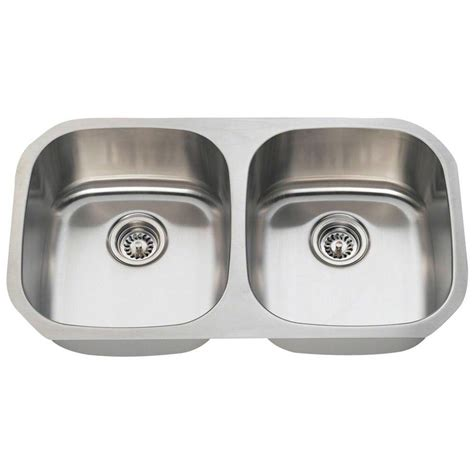 Two Bowl Kitchen Sink Foret Undermount Stainless Steel 32 1 4 In 0 Bowl Kitchen Sink Bfm208 The