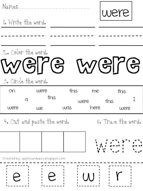 Sight Words Worksheets by Apples And Abc S Sight Word Mania Part 2
