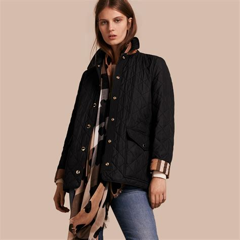 Quilted Jacket Burberry by Burberry Check Detail Quilted Jacket Black In