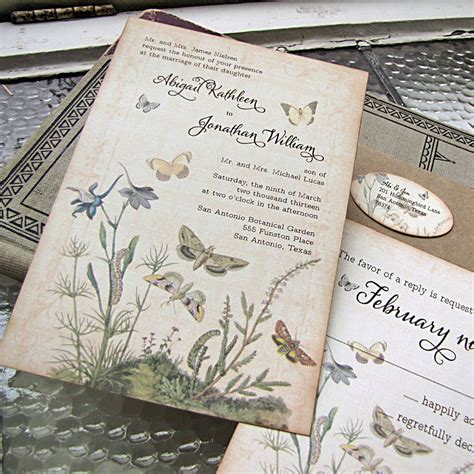 Garden Wedding Invitation Ideas Vintage Wedding Invitation Botanical Butterflies Garden