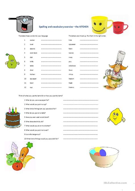 spelling and vocabulary teachers 1407141864 spelling and vocabulary kitchen worksheet free esl printable worksheets made by teachers