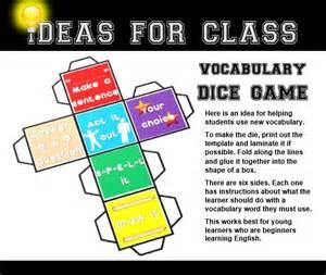 esl printable dice vocabulary dice game