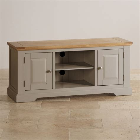 Grey Tv Cabinet by St Ives Grey Tv Unit With Brushed Oak Top Oak Furniture Land