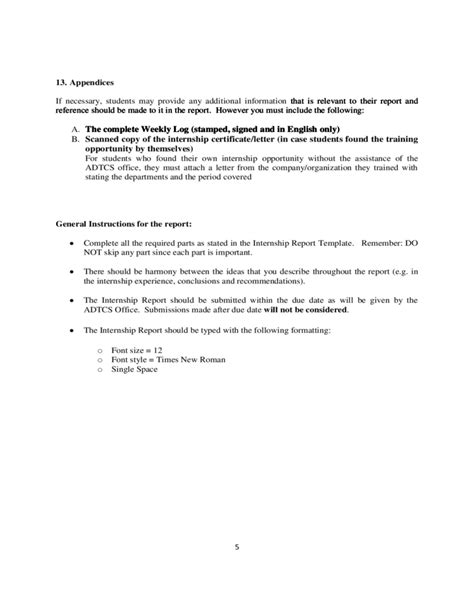internship report template internship report template free