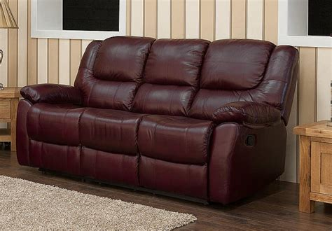 Harvey Reclining 3 Seater Leather Sofa Burgandy Harvey Leather Sofa