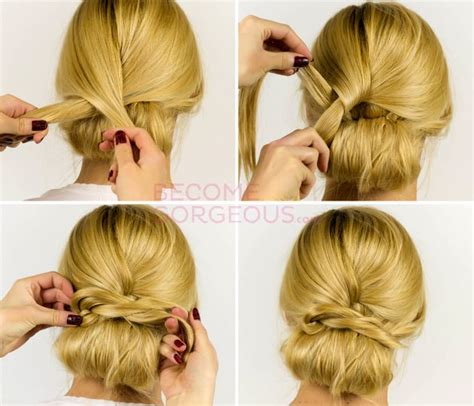 easy to make bun hairstyles easy updo hair tutorial steps hair pinterest bun