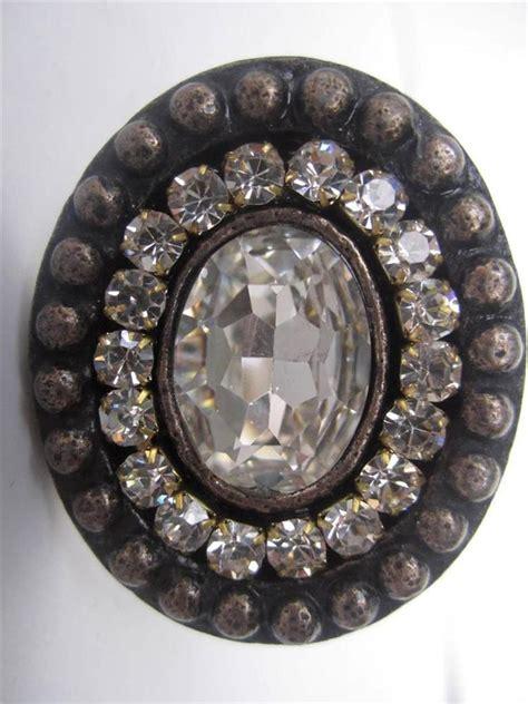 Bling Drawer Knobs by 2 Vintage Ornate Rhinestone Cabinet Knob Drawer Pull Pewter Bling Ebay