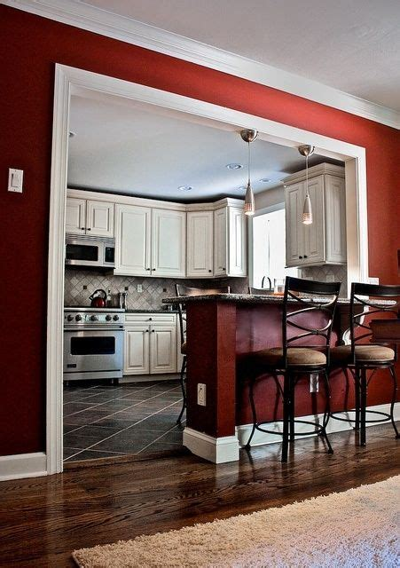 future house kitchen love the red on walls and ceiling kitchen bar area almost identical layout to ours would