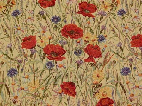 poppy curtain material brockhall designs sand poppy tapestry fabric