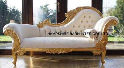 couche in french chaise longue ornate gold leaf ivory fabric lounge sofa